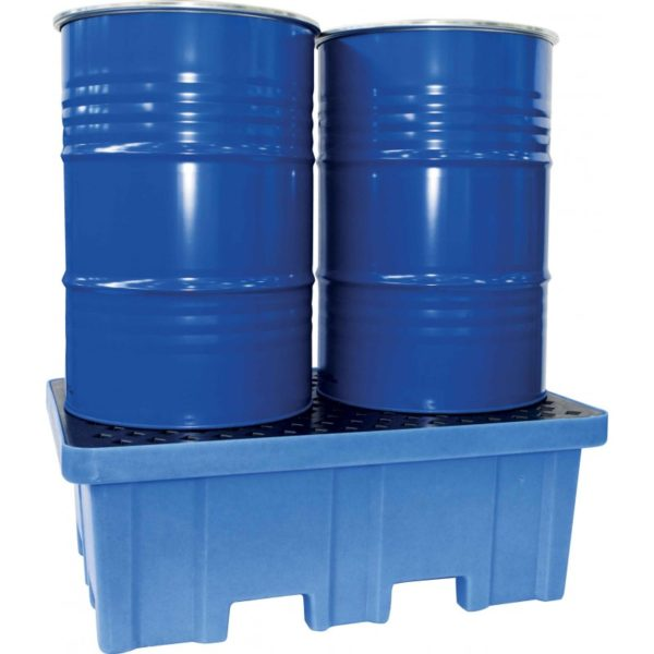 Bac de retention 2 fûts polyéthylène haute densité