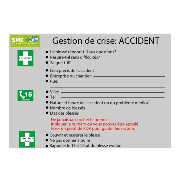 Gestion de crise : Accident